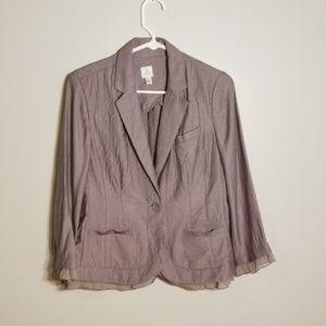 LC Lauren Conrad Gray Lace Embellished Blazer